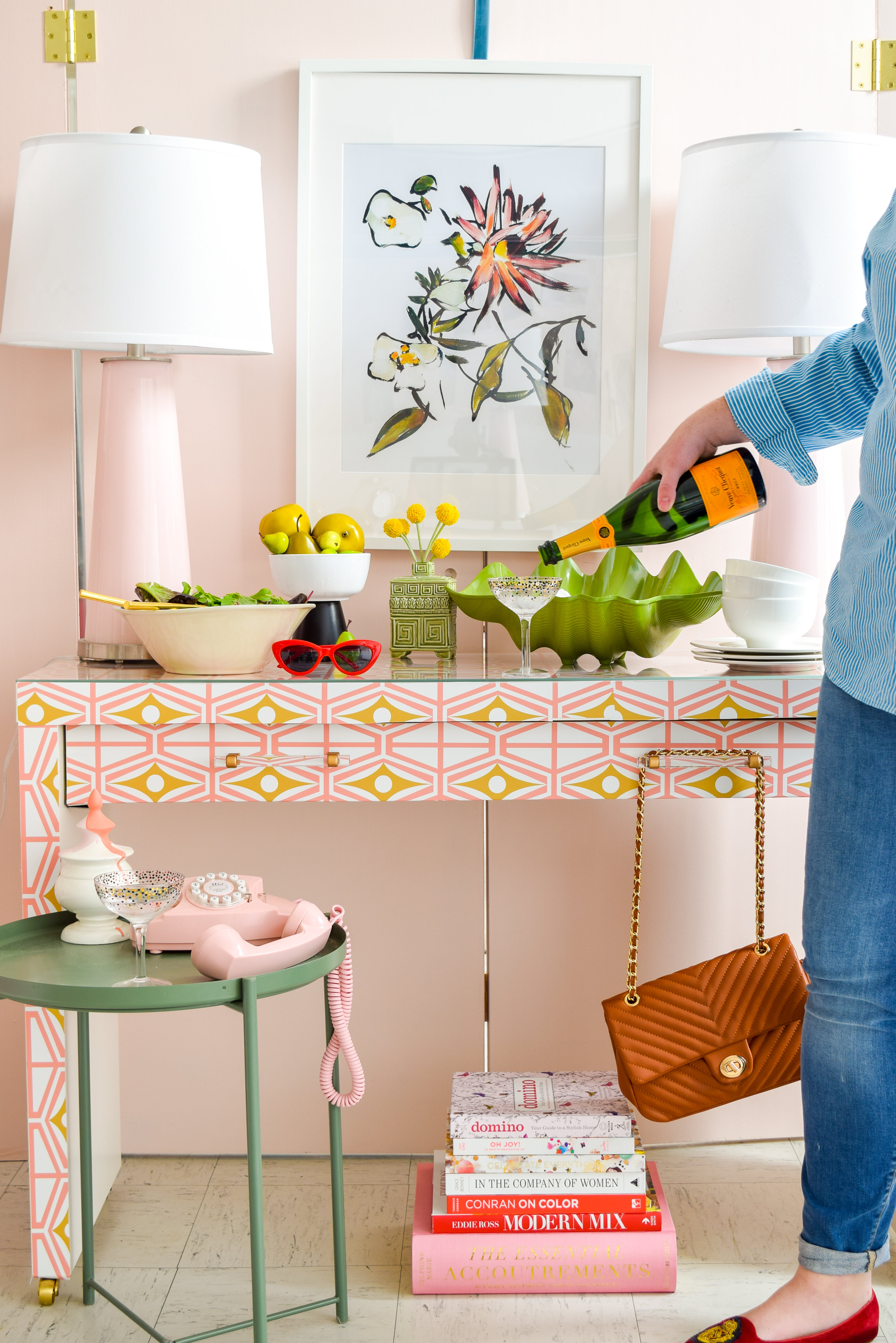 Breathe new life into some old IKEA furniture with fresh hardware, and a bold print. DIY an IKEA Sideboard Hack using Spoonflower's removable wallpaper designs, coupled with Liberty Brand Hardware, to create a striking piece, and an entertaining classic: a movable bar cart and sideboard.