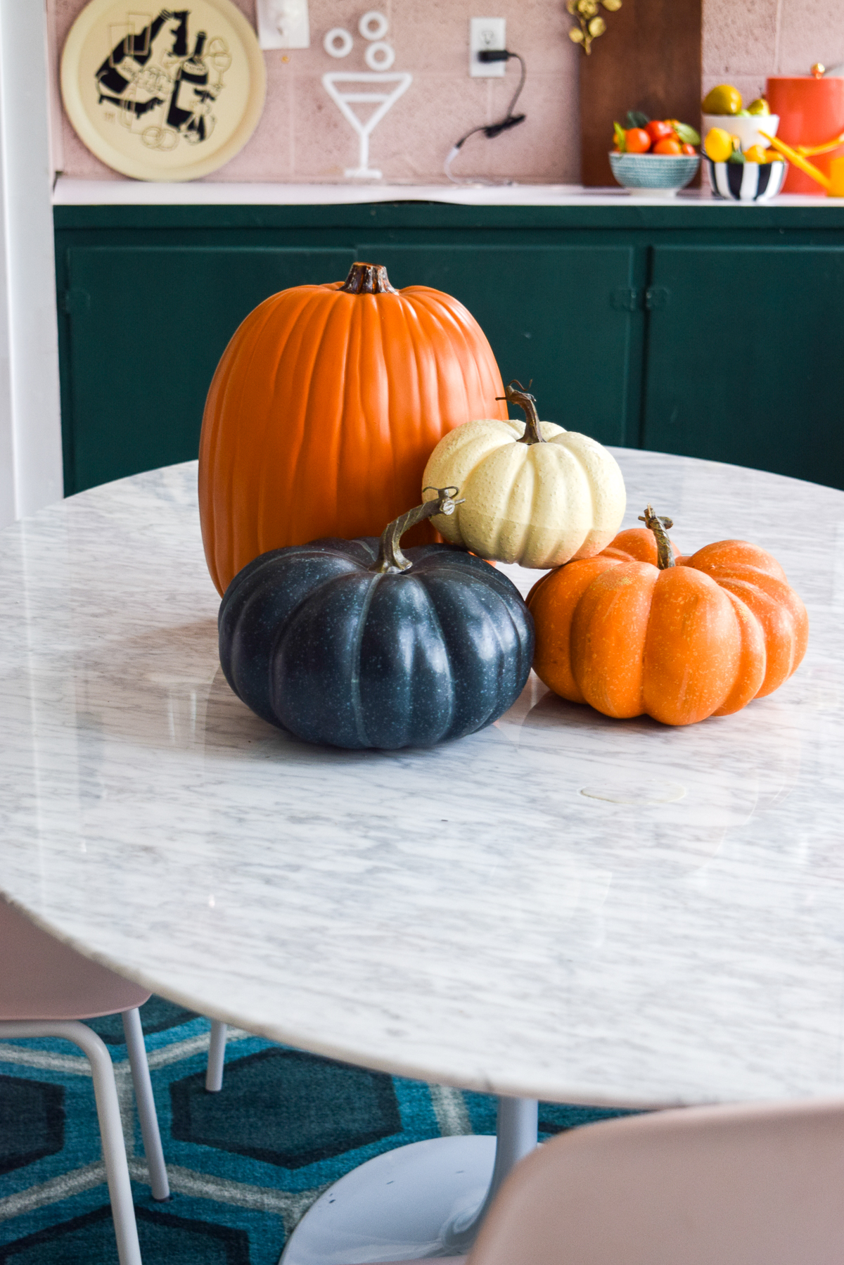 plastic pumpkins on a table