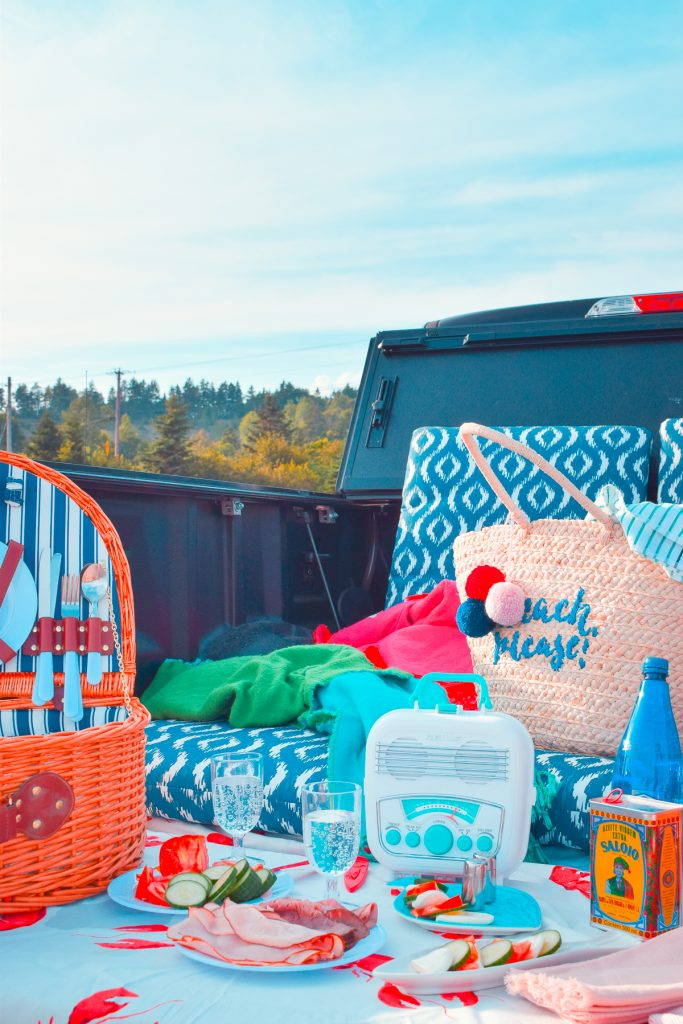 picnic out the back of a truck with blue sky