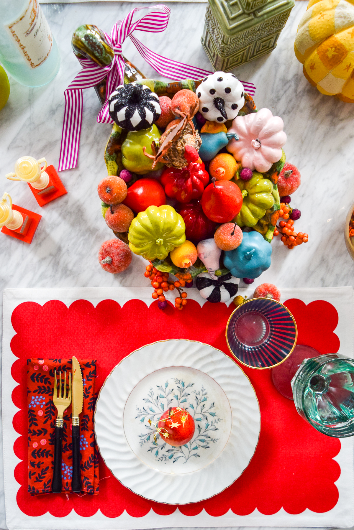 colourful fall cornucopia and place setting
