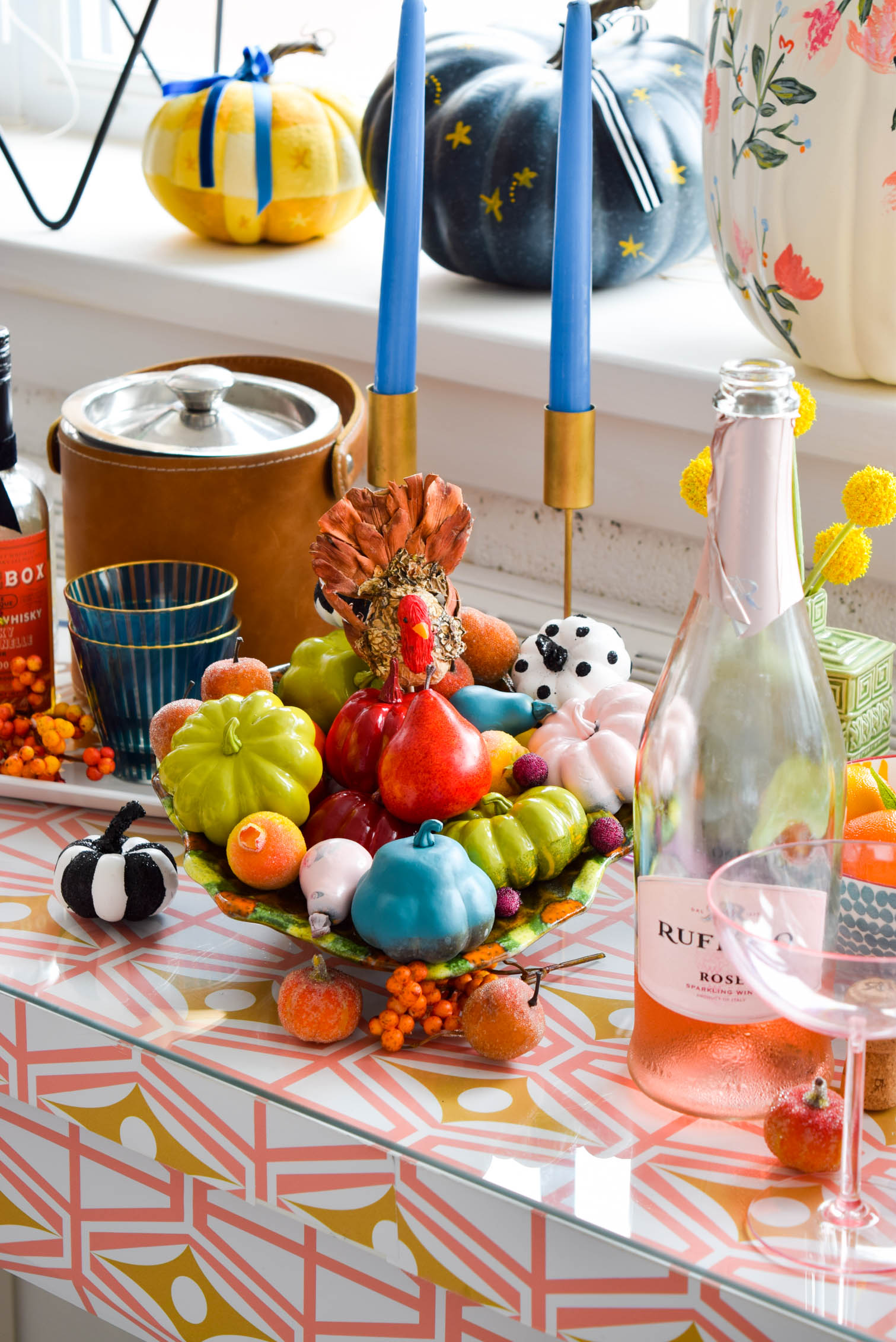 colourful sideboard decorated for fall