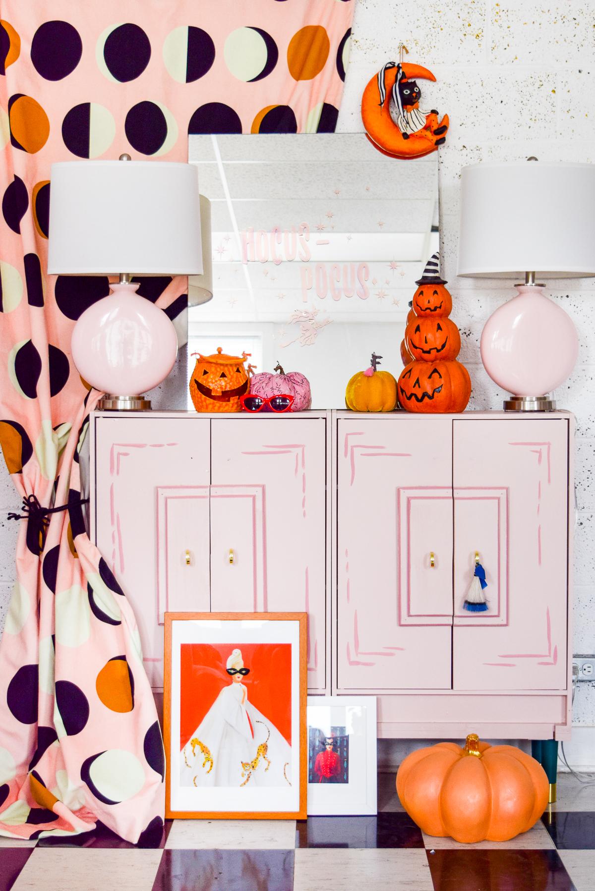 Pink and Orange Halloween entryway
