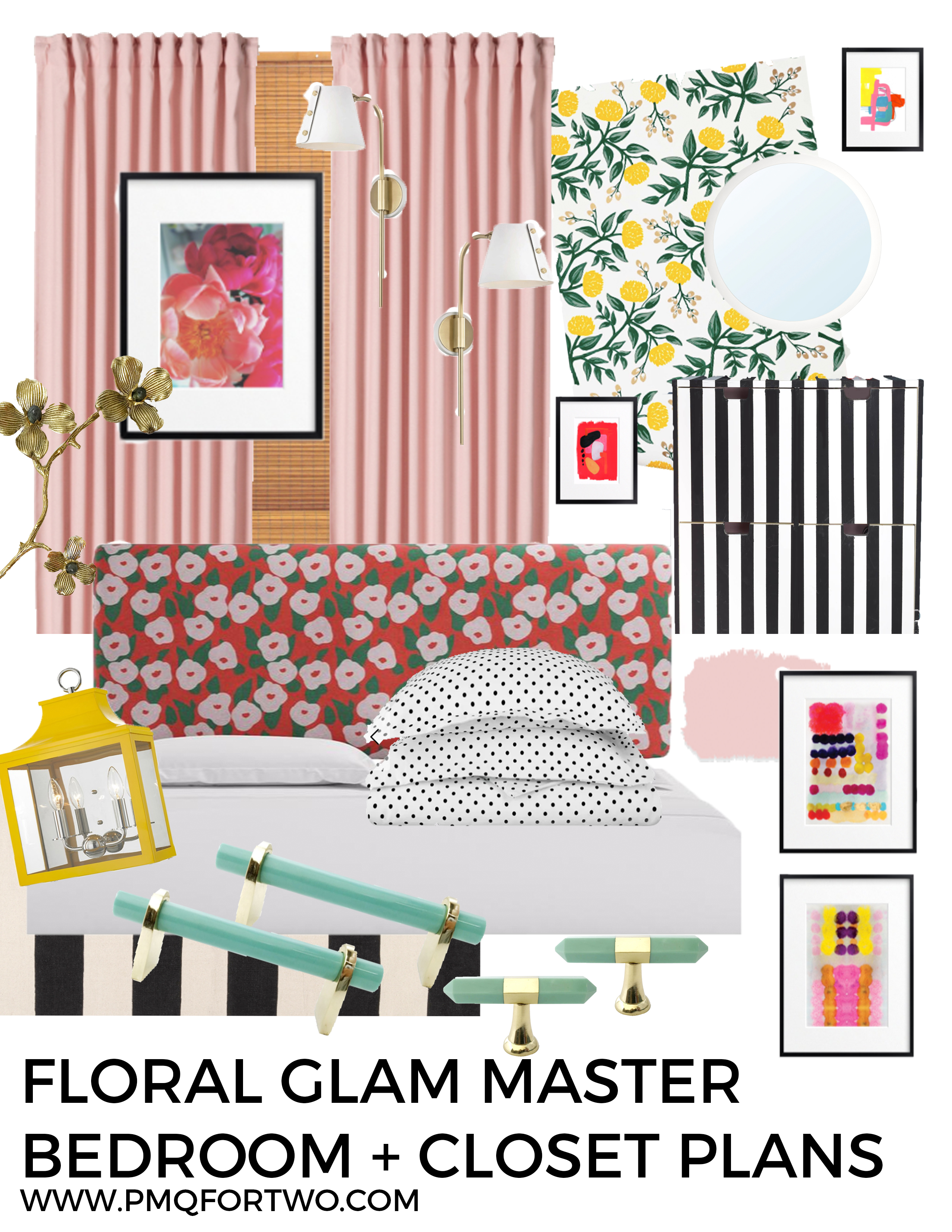 The time is now! I'm unveiling our Floral Glam Master Bedroom + Closet Plans, and how we're going to turn our beige box into something amazing. We're pulling out all the stops; from paint, to wallpaper, lighting, art, hardware and more!