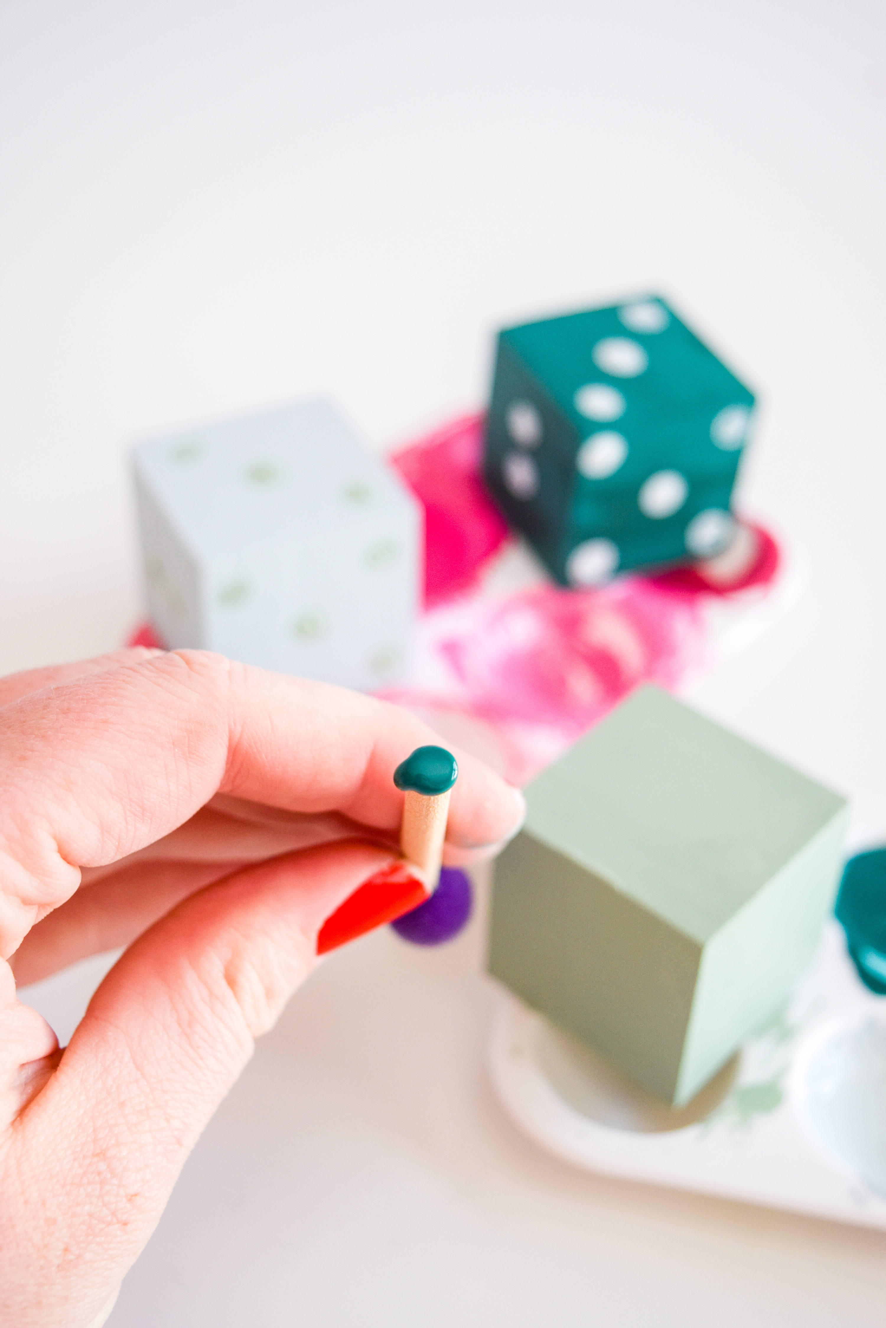 Shake my Painted Decorative Dice! Maybe lady luck will be on your side, with this cheeky tribute to your board game loving hearts.