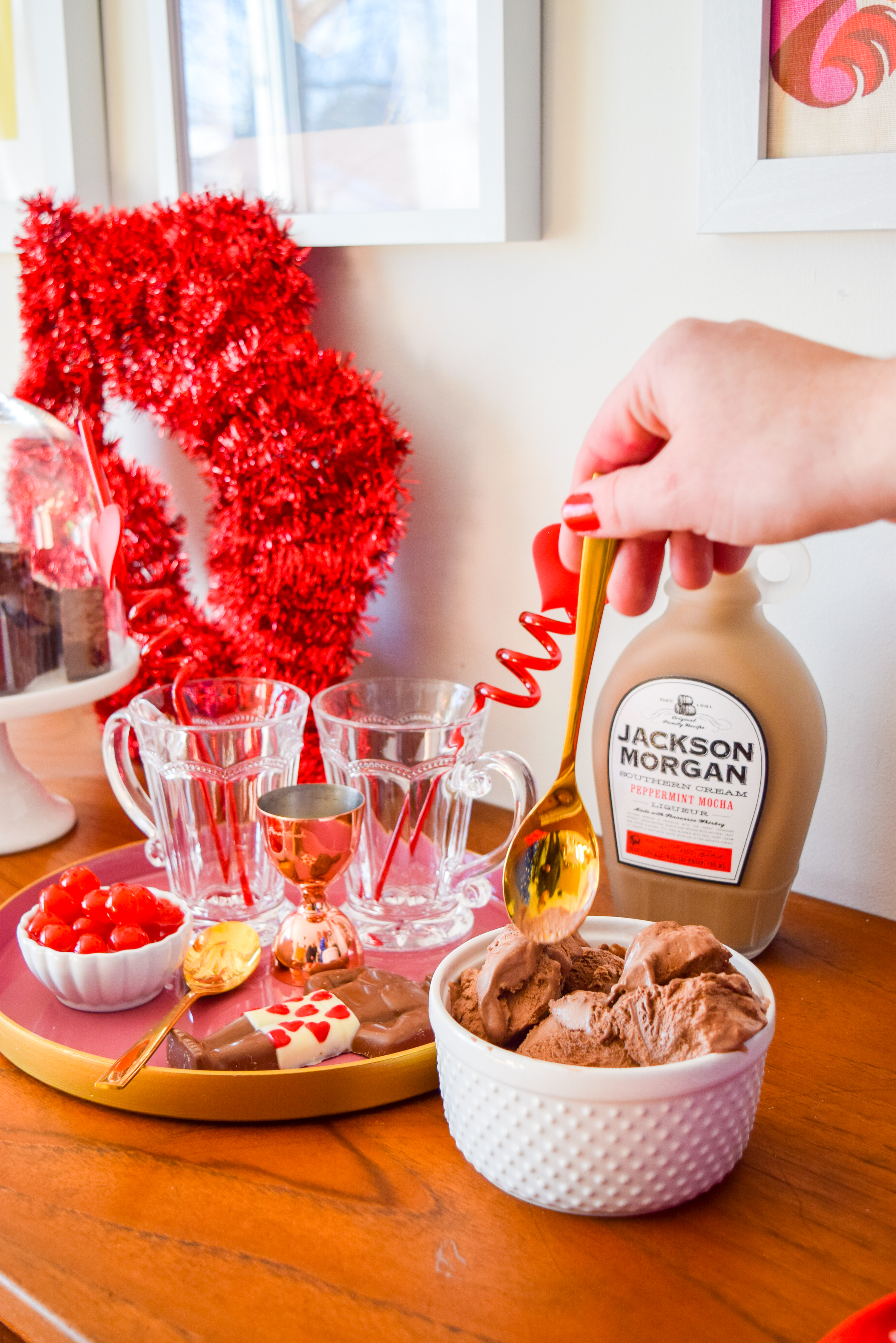 A Whiskey Peppermint Mocha Chocolate Milkshake is the perfect excuse to share something this Valentine's day (or any other day for that matter). Just make sure you've got some Jackson Morgan on hand!