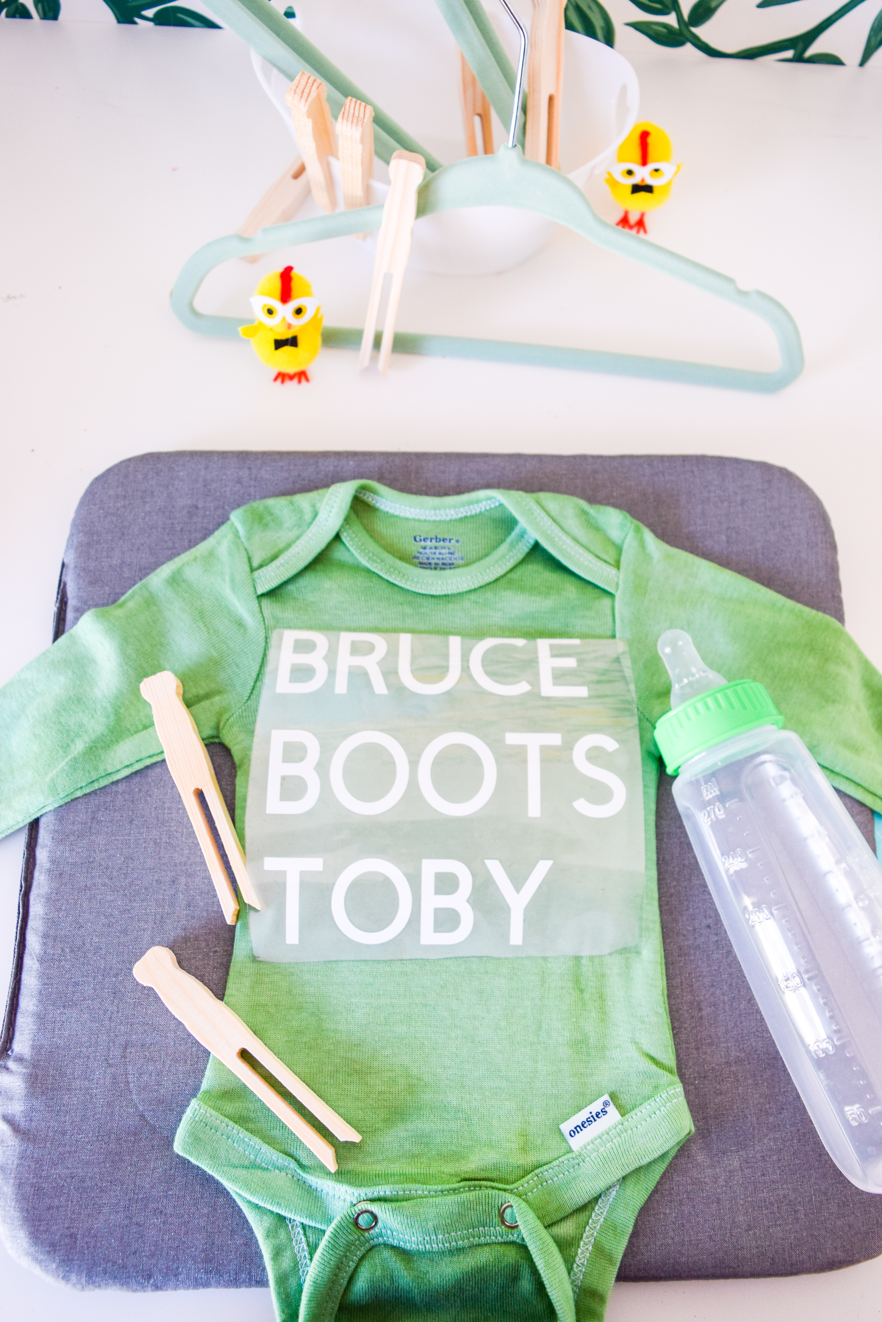 custom dyed baby onesies are how you get around the fact that everything in stores is either blue or pink. Take back the cool with customized baby clothes.