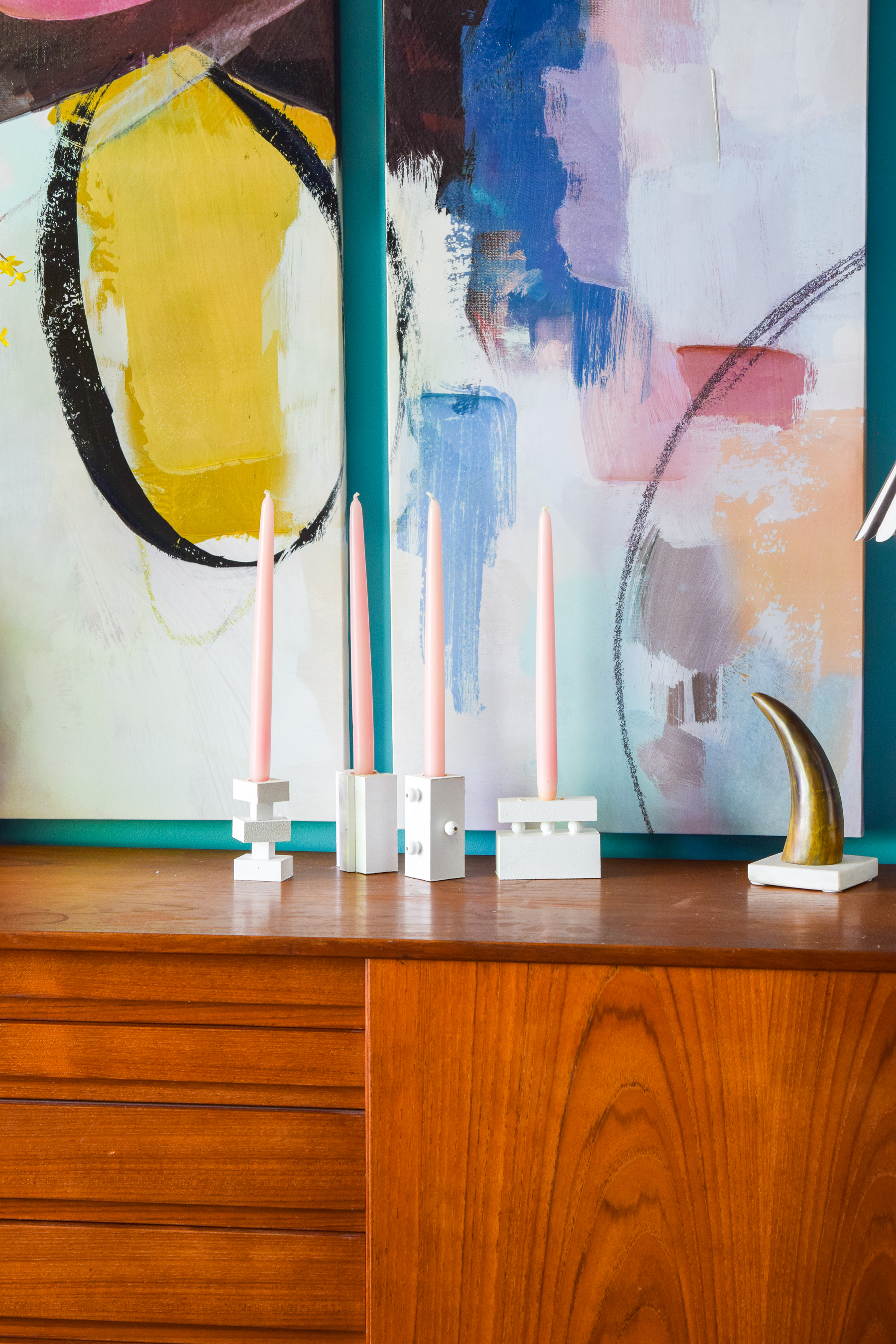 These DIY Modern Wood Candlestick Holders that I made add a pop of geometric modern design, and you will love how easy they were to make!