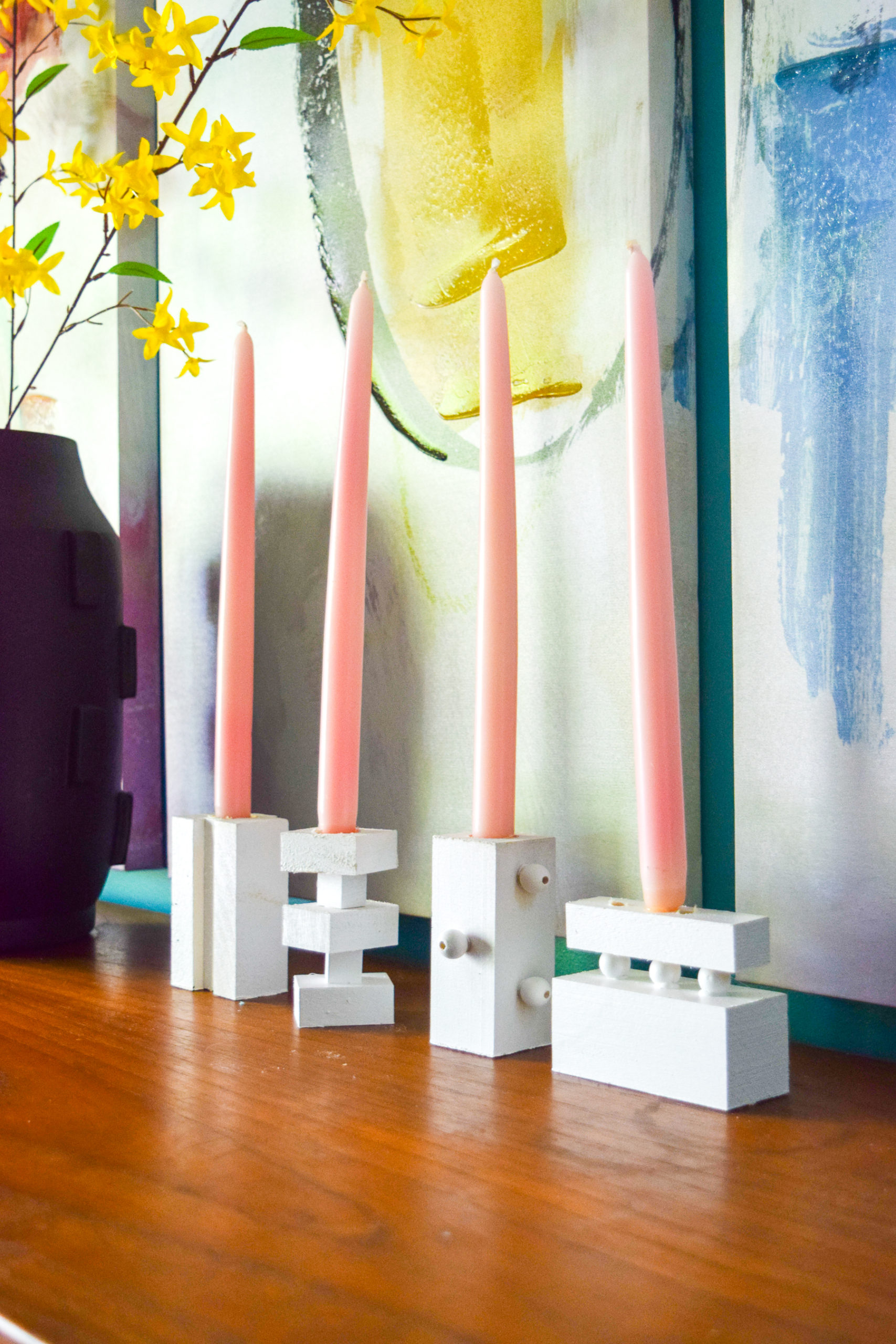 TheseDIY Modern Wood Candlestick Holders that I made add a pop of geometric modern design, and you will love how easy they were to make!