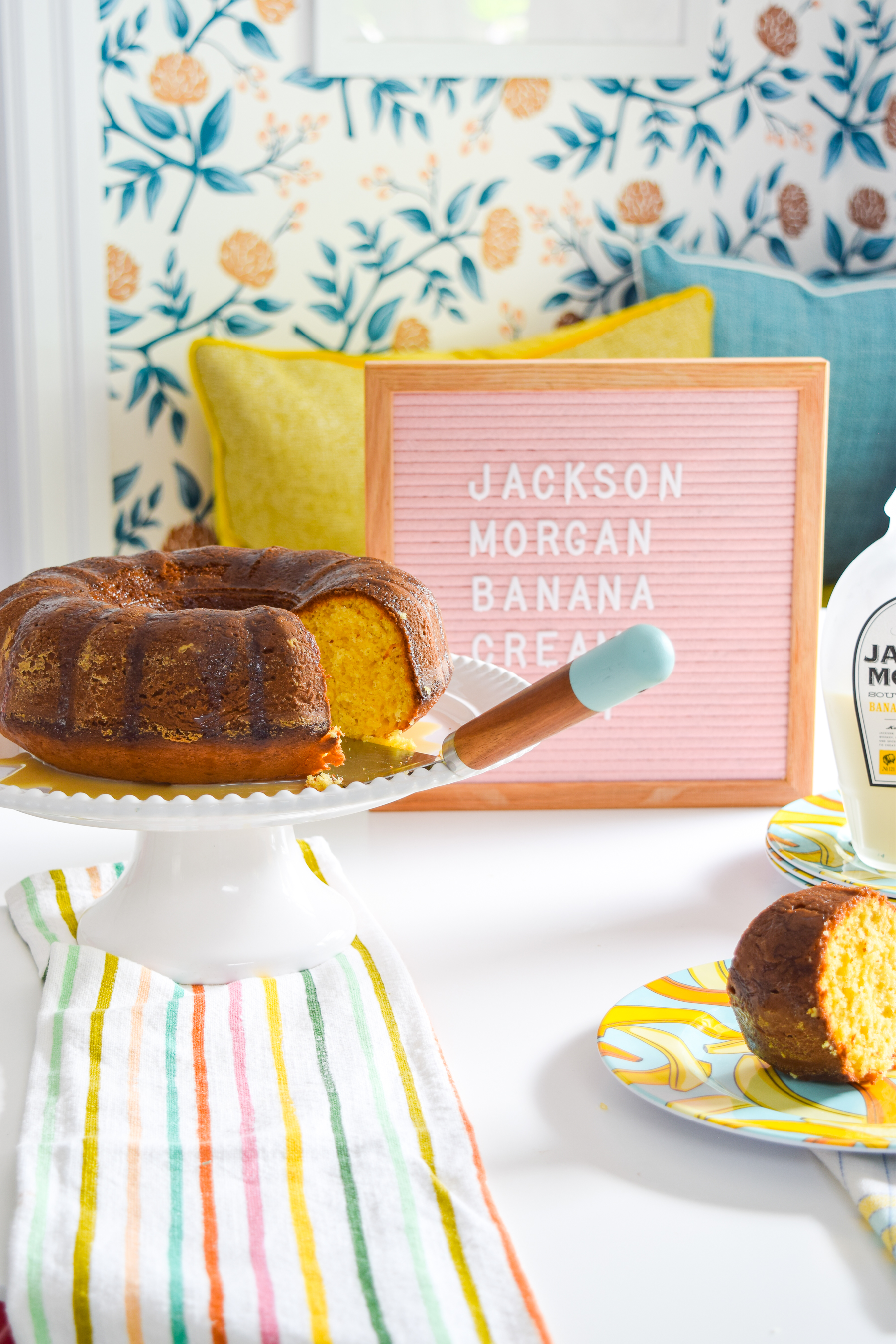 A Whiskey Banana Cream Bundt Cake is easier to make than you'd think (cake mix + Jackson Morgan Banana Pudding Cream), and tastes like creamy banana pudding goodness.