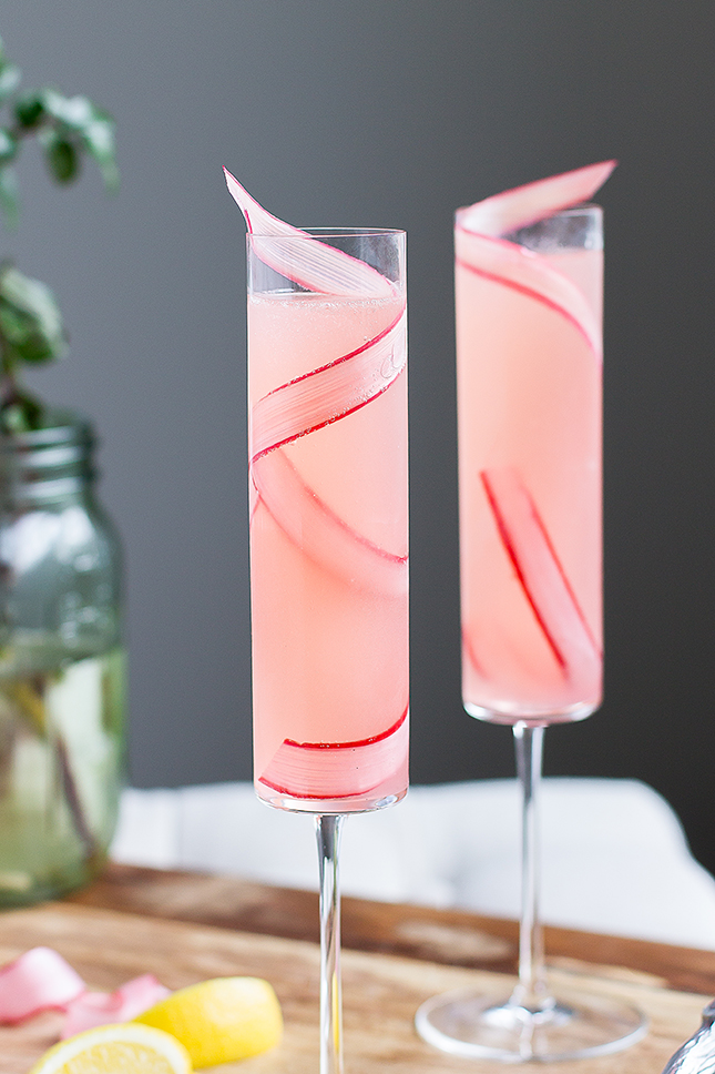 Rhubarb 75 Cocktail by The Good Drink
