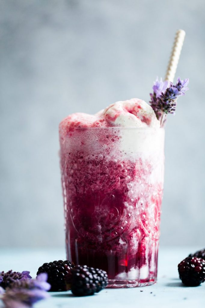 Lavender Earl Gray Blackberry Ice Cream Floats by Snixy Kitchen