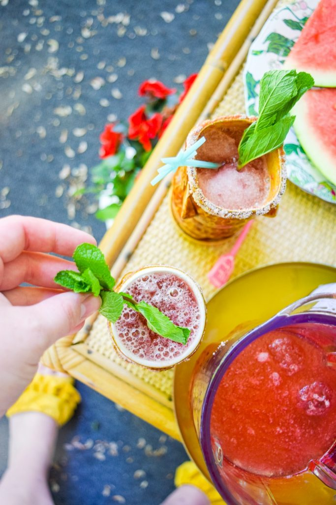 Watermelon Slush with Pomegranate Rimer by PMQ for two