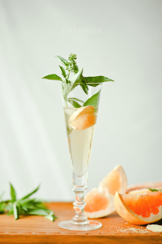 Ginger Basil Grapefruit Spritzer from 1-2 Simple Cooking
