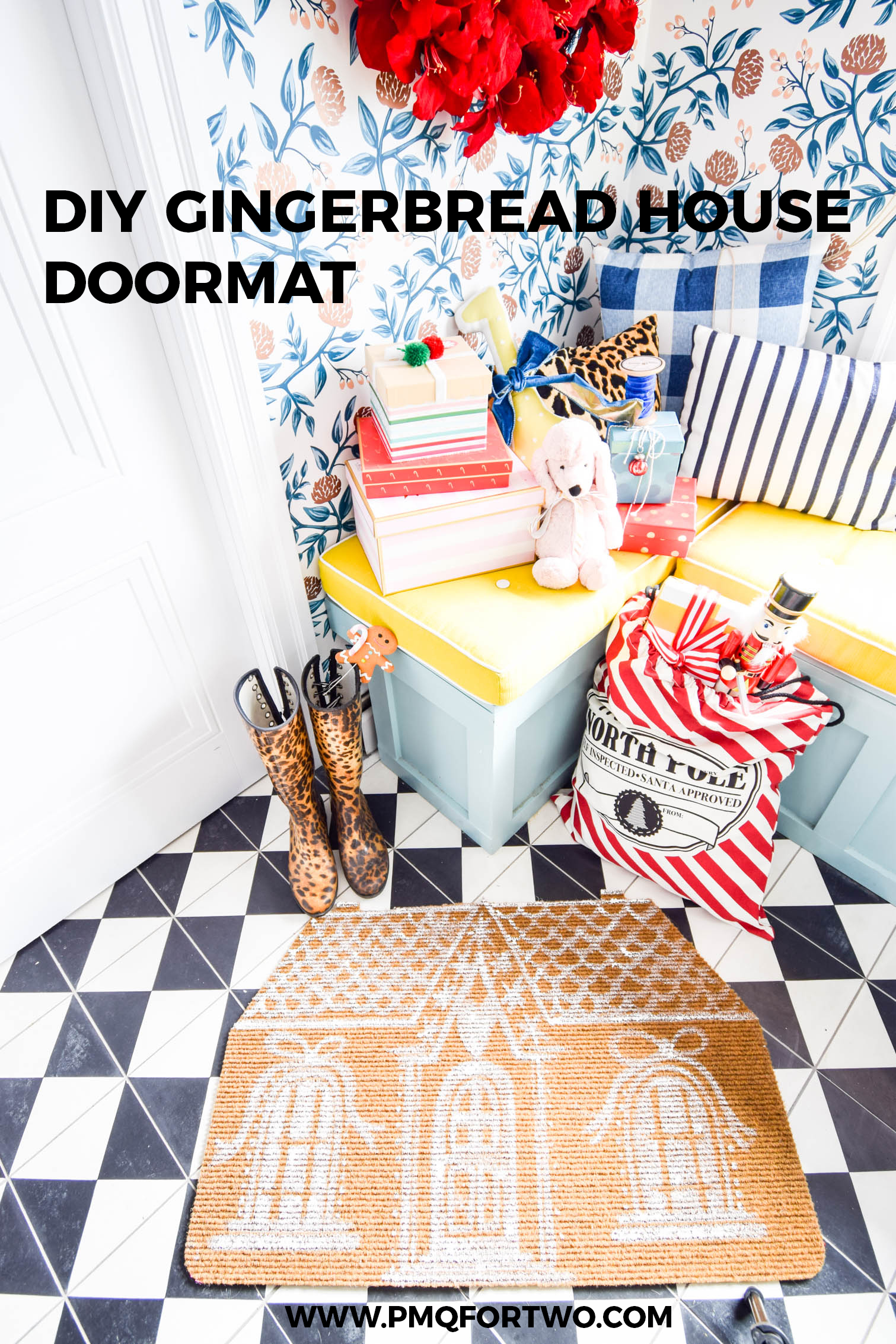 Have you seen the super cute Gingerbread doormat popping up around Instagram? I made my gingerbread house doormat using 3 simple elements and cost me 5$.