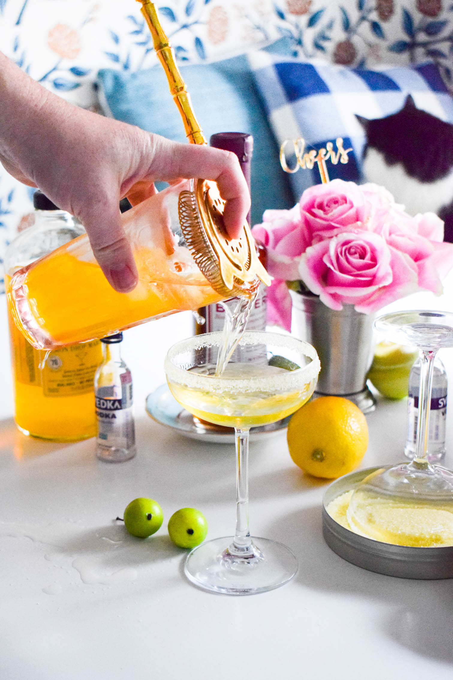 Making a lemon drop martini is easier than you'd think with Stirrings' Lemon Drop cocktail mix and rimmer! Grab the recipe on the blog! Including a suggestion for spicing things up with Blood Orange Bitters.