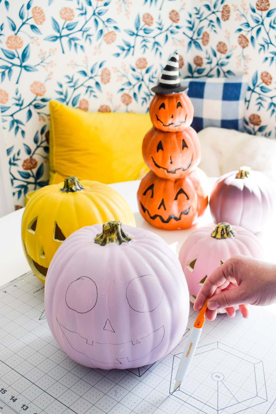 The best tool to carve foam pumpkins is the Fiskars Easy Change Detail Knife. It slices with ease and doesn't hurt to hold.