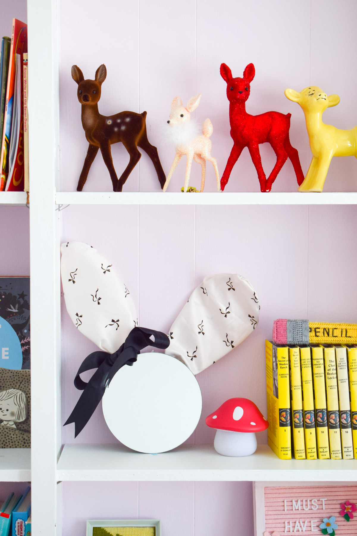 Make your own Bunny ear mirror using items from around the house, in a few short minutes! You could easily turn any mirror into one!